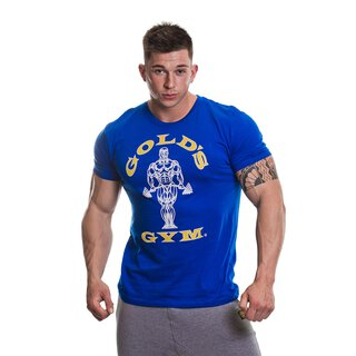 Golds Gym T-Shirt  , Gold´s Gym U.S.A Logo Shirt blau , Muscle Joe